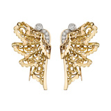 French Retro 18k Gold & Diamond Butterfly Clips
