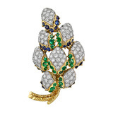 Diamond, Emerald & Sapphire Grape Vine Brooch