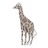 Multicolored Diamond Giraffe Brooch