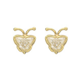 ​18k Yellow Gold & Diamond Butterfly Stud Earrings