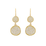​18k Yellow Gold & Diamond Disc Drop Earrings