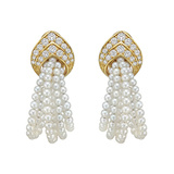 18k Gold, Diamond & Pearl 5-Loop Earrings