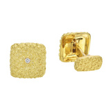 18k Gold & Diamond Square Cufflinks