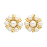 18k Yellow Gold & Pearl Cluster Earclips