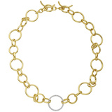 18k Gold Round & Oval Link Necklace with Diamond Link