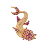 14k Yellow Gold & Ruby Fish Pendant