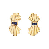 14k Yellow Gold & Sapphire Fluted Spray Earclips