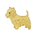 18k Yellow Gold Terrier Pin with Ruby Eyes