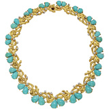 18k Gold, Turquoise & Diamond Branch Necklace