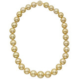 ​Golden South Sea Pearl Necklace with Pavé Diamond Clasp