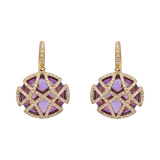 Oval Amethyst & Pavé Diamond Drop Earrings