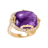 Cabochon-Cut Amethyst & Diamond Cocktail Ring