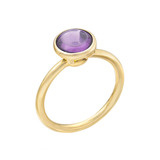 Stackable Circular-Cut Amethyst RIng