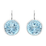 ​Round Blue Topaz Drop Earrings