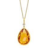 Pear-Shaped Citrine Pendant with Diamond
