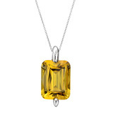 Cushion-Cut Citrine Pendant Necklace