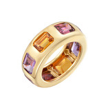 18k Gold & Colored Gemstone Band Ring