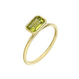 Stackable Emerald-Cut Peridot Ring