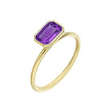Stackable Emerald-cut Amethyst Ring