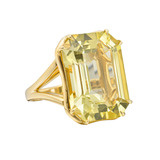Large Emerald-Cut Lemon Citrine Cocktail Ring