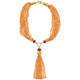 Mandarin Garnet Tassel Necklace