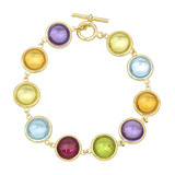 Multicolored Gemstone Link Bracelet