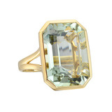 Large Emerald-Cut Prasiolite Cocktail Ring