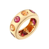 Rubellite & Citrine Gemstone Band Ring