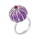 "Fluted Amethyst ""Saffa"" Cocktail Ring with Rubellite"