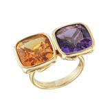 Citrine & Amethyst Twin Cocktail Ring