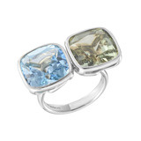 Blue Topaz & Prasiolite Twin Cocktail Ring