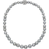 Gray Pearl & Diamond Necklace