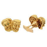 14k Gold Greek Comedy/Tragedy Masks Cufflinks