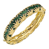 14k Gold & Green Enamel Bangle