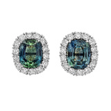 Greenish-Blue Sapphire & Diamond Cluster Earrings