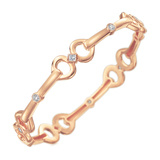 "18k Rose Gold & Diamond Wide ""Gallop"" Bangle Bracelet"