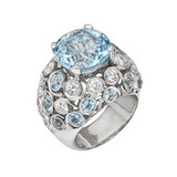 "Aquamarine ""Bubble"" Ring with Diamond"