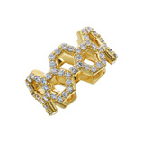 Diamond 2-Row Honeycomb Band Ring