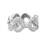 18k White Gold &amp; Pav Diamond &quot;Gallop&quot; Eternity Band