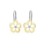 18k Gold & Diamond Daisy Drop Earrings