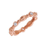 "18k Rose Gold & Diamond ""Nutmeg"" Band Ring"