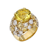 "Yellow Beryl ""Bubble"" Ring with Diamond"