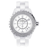J12 Small Quartz White Ceramic & Diamonds (H0967)