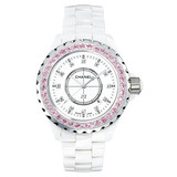 J12 Small Quartz White Ceramic &amp; Pink Sapphires (H2010)