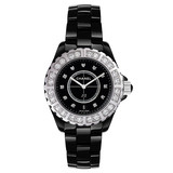 J12 Large Quartz Black Ceramic & Diamonds (H2428)