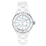 "​J12 38mm ""Blue Light"" White Ceramic (H3827)"