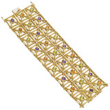 ​18k Gold Gem-Set Lattice Bracelet