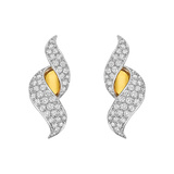 ​18k Gold, Platinum & Diamond Scroll Earclips