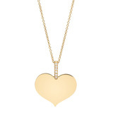 18k Gold Heart Pendant with Pav Diamond Bale