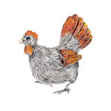 Medium Silver & Enamel Hen Sculpture